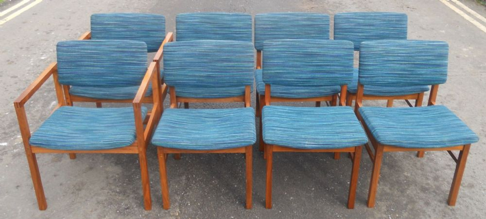 Set of Eight Gordon Russell Teak Framed Dining Chairs